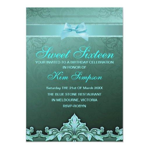 El cumpleaños azul del dulce 16 del arco y del invitación