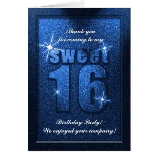 El cumpleaños azul del dulce 16 del brillo le agra tarjeta pequeña