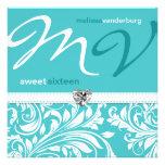 El cumpleaños azul del dulce dieciséis del trullo  invitación personalizada