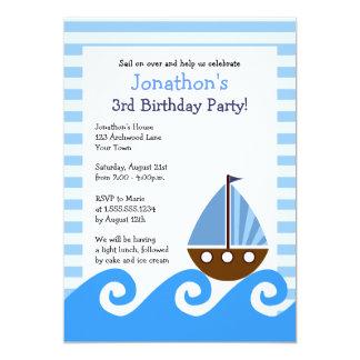 """El cumpleaños azul del pequeño velero lindo invita invitación 5"""" x 7"""""""