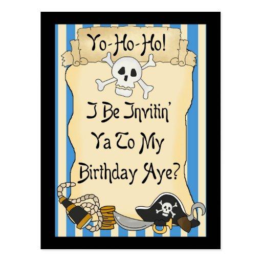El cumpleaños azul del pirata de Yo Ho Ho invita Tarjeta Postal