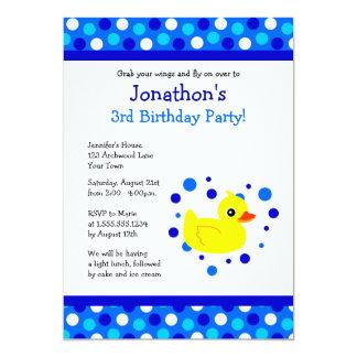 """El cumpleaños azul Ducky amarillo lindo de los Invitación 5"""" X 7"""""""