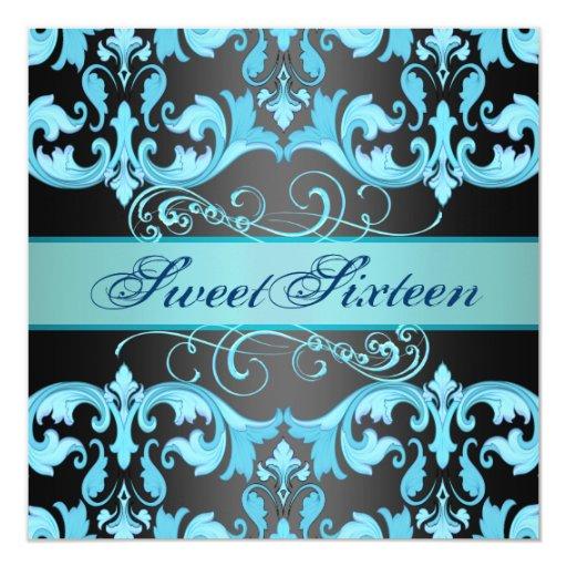 El cumpleaños azul/negro de Sweet16 del damasco Comunicados Personales