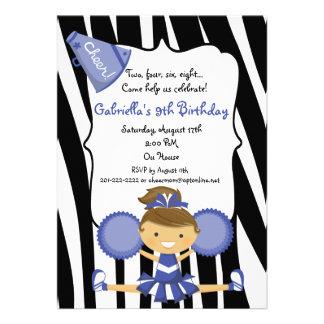 El cumpleaños azul rayado cebra de la animadora in