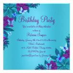 El cumpleaños azul y púrpura brillante de la marip invitaciones personales
