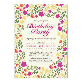El cumpleaños banal del jardín de flores rosado invitación 12,7 x 17,8 cm