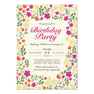 """El cumpleaños banal del jardín de flores rosado invitación 5"""" x 7"""""""