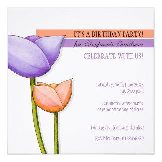 """El cumpleaños blanco anaranjado púrpura de las invitación 5.25"""" x 5.25"""""""