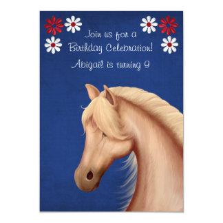 """El cumpleaños blanco del Palomino y azul rojo del Invitación 5"""" X 7"""""""