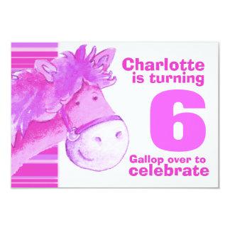 """El cumpleaños blanco rosado del 6to cumpleaños del invitación 3.5"""" x 5"""""""
