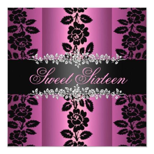 El cumpleaños color de rosa rosado y negro del anuncios personalizados