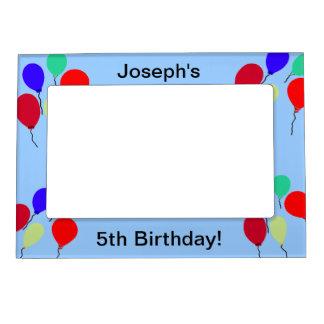El cumpleaños colorido de los muchachos hincha el  marcos magneticos para fotos