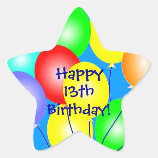 El cumpleaños colorido hincha a los pegatinas calcomanía cuadrada