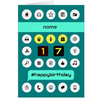 el cumpleaños computacional del 17mo hashtag añade tarjeta de felicitación