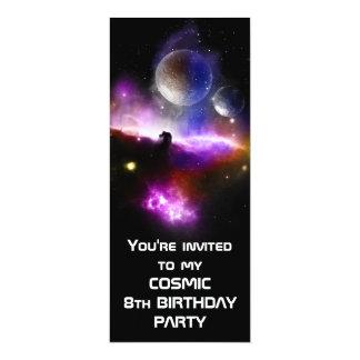 El cumpleaños cósmico invita a la versión delgada invitación 10,1 x 23,5 cm