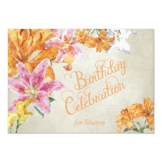 """El cumpleaños de encargo de los lirios de la invitación 5"""" x 7"""""""