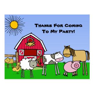 El cumpleaños de encargo del tema de la granja le tarjeta postal