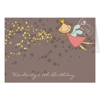 El cumpleaños de hadas caprichoso de las estrellas tarjeta pequeña