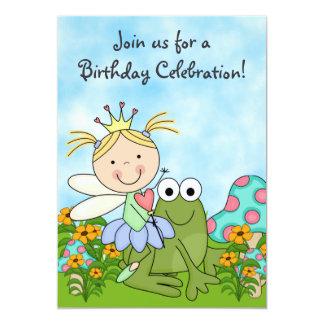 """El cumpleaños de hadas rubio de la princesa y de invitación 5"""" x 7"""""""