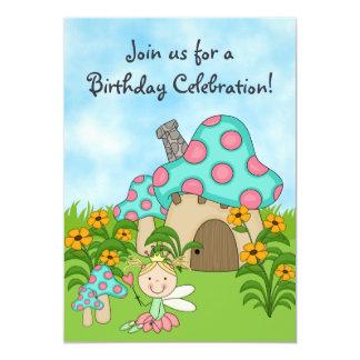 """El cumpleaños de hadas rubio de la princesa y del invitación 5"""" x 7"""""""