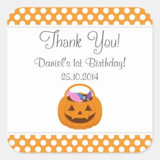El cumpleaños de Halloween le agradece calabaza de Pegatinas Cuadradas Personalizadas