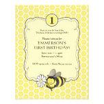El cumpleaños de la abeja de la miel invita invitación personalizada