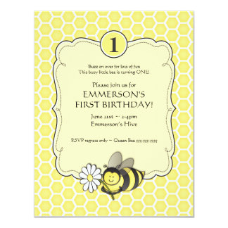 El cumpleaños de la abeja de la miel invita invitación 10,8 x 13,9 cm
