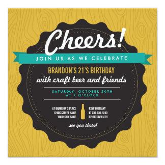 El cumpleaños de la cerveza del arte invita invitación