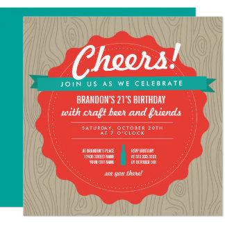 """El cumpleaños de la cerveza del arte invita invitación 5.25"""" x 5.25"""""""