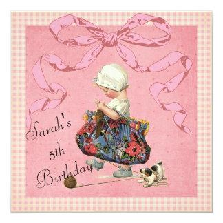 El cumpleaños de la cinta del rosa del chica de la invitación 13,3 cm x 13,3cm