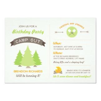 El cumpleaños de la diversión acampa hacia fuera invitación 12,7 x 17,8 cm
