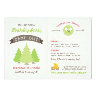 """El cumpleaños de la diversión acampa hacia fuera invitación 5"""" x 7"""""""