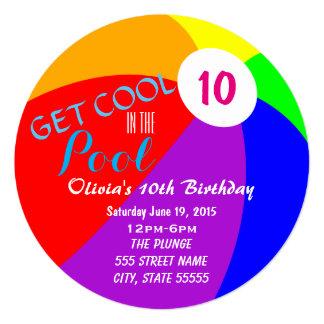 """El cumpleaños de la fiesta en la piscina invita invitación 5.25"""" x 5.25"""""""