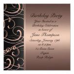 El cumpleaños de la frontera del lado del invitación 13,3 cm x 13,3cm