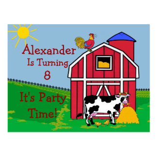 El cumpleaños de la granja Fiesta-Lo personaliza Postal