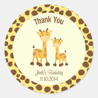 El cumpleaños de la jirafa le agradece arbolado etiquetas redondas