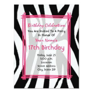 """El cumpleaños de la moda del estampado de zebra y invitación 4.25"""" x 5.5"""""""