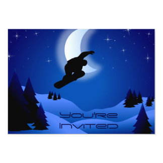 """El cumpleaños de la montaña de la snowboard de la invitación 5"""" x 7"""""""