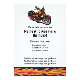 """El cumpleaños de la motocicleta invita invitación 5"""" x 7"""""""