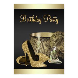 El cumpleaños de la mujer del oro del negro de invitación 12,7 x 17,8 cm