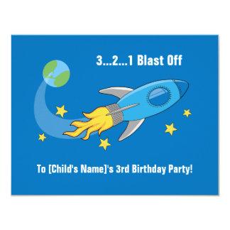 """El cumpleaños de la nave de Rocket retro invita Invitación 4.25"""" X 5.5"""""""