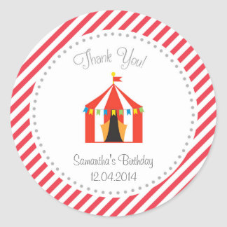 El cumpleaños de la tienda de circo le agradece pegatina redonda