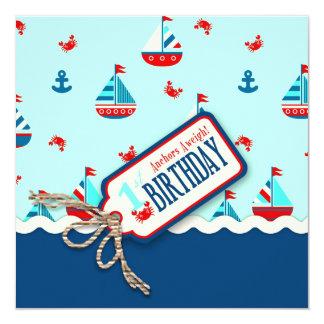 El cumpleaños de las naves Ahoy invita a Invitación 13,3 Cm X 13,3cm