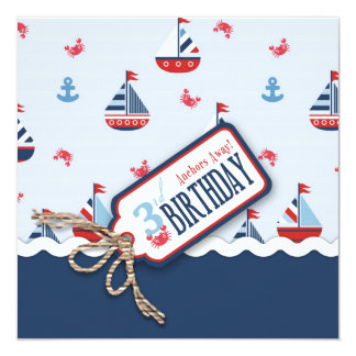 El cumpleaños de las naves Ahoy invita al cuadrado Invitación 13,3 Cm X 13,3cm