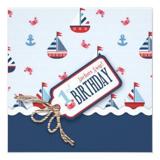 """El cumpleaños de las naves Ahoy invita al cuadrado Invitación 5.25"""" X 5.25"""""""
