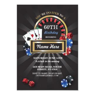 """El cumpleaños de Las Vegas de la noche del casino Invitación 5"""" X 7"""""""