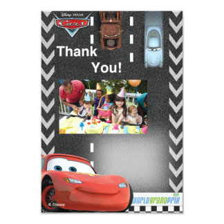 """El cumpleaños de los coches le agradece las invitación 3.5"""" x 5"""""""