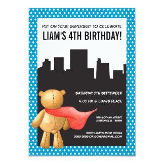 """El cumpleaños de los muchachos del peluche del invitación 4.5"""" x 6.25"""""""
