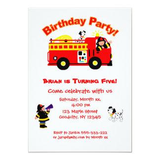 """El cumpleaños de los niños del coche de bomberos invitación 5"""" x 7"""""""