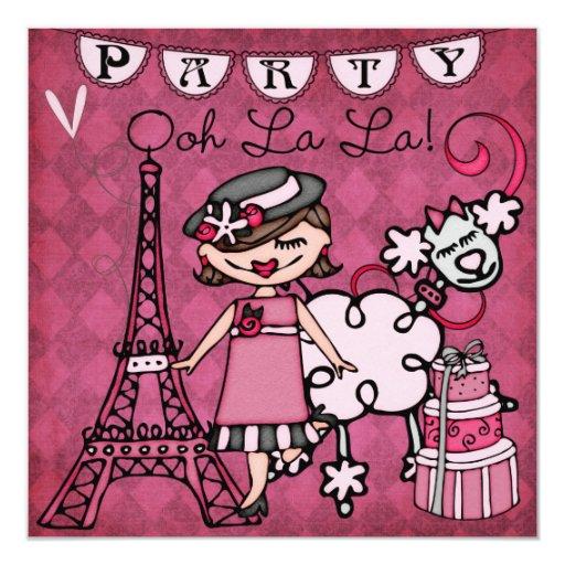 """El cumpleaños de París del La del La de Ooh del Invitación 5.25"""" X 5.25"""""""